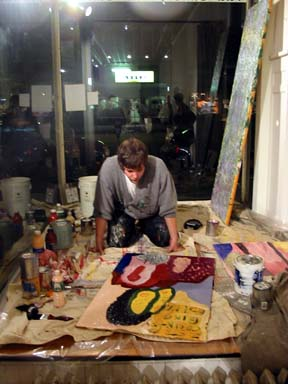 James Matthew Shyn paints during the 6-hour HAPPY TIMES